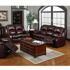Devon Traditional Style Recliners 2 PC Sofa Love Seat Cabernet