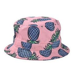 fa911f8b30f Girls Ladies Headwear Pineapple pattern Wide Rim Flat top fishing Bucket Hat  Sun Hat (pink) Material  Cotton Blend new brand   high quality It is soft  and ...