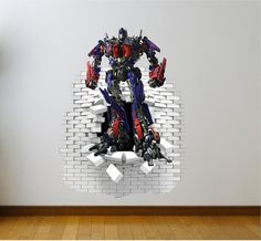 Optimus Prime Fighting Wall Decal Mural and Transformers Wall Stickers e98