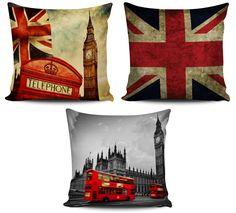 Conjunto com 3 Almofadas decorativas Londres