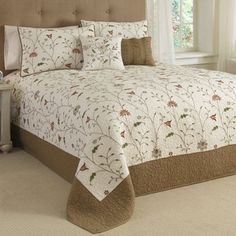 Amherst Embroidered Floral Quilted Bedspread Bedding