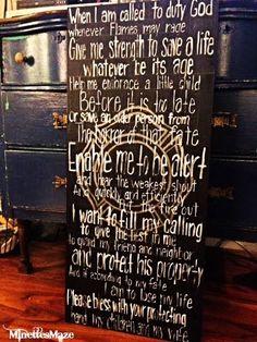 DIY Firemans Prayer Sign