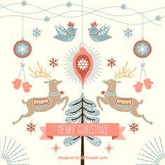 Nice christmas illustration Free Vector