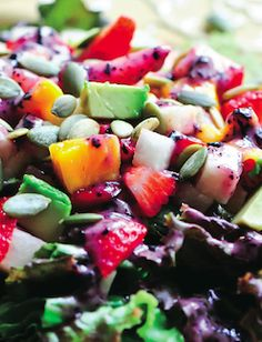Strawberry Mango Salad - This summer salad filled with berries and veggies will cool you off and fill you up.
