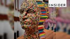 An artist created a sculpture made of glue and 500 colored pencils