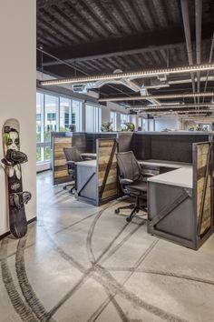 Custom Blackened Steel & Reclaimed Wood Work Stations   Monster Energy Headquarters   Commercial Interior Design by H.Hendy Associates