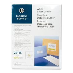 "business source mailing labels, laser, 1-1/3""x4"", 3500/pk, white"