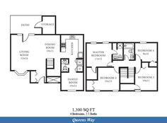 NS Norfolk – Queens Way Neighborhood: 4 bedroom  2.5 bath home floor plan (1300 SQ FT).