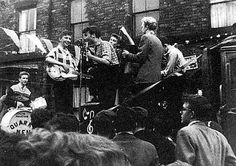 Liverpool skiffle group The Quarrymen playing their first full show in 1957: John Lennon is centre stage.