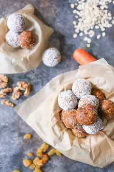 These vegan, gluten-free bites are loaded with good-for-you ingredients and taste just like carrot cake. Keep them in the fridge for guilt-free snacking!