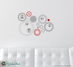 Gears Arrows Vinyl Wall Graphics Decor Sticker by thestickerhut