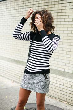 stripes and mini skirt