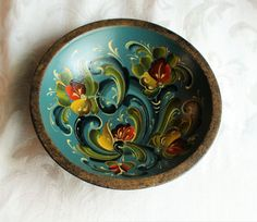 Norwegian Rosemaling in Telemark Style on Antique Wood Bowl