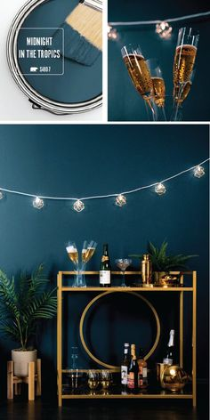 Your New Year's Eve party wouldn't be complete without the rich blue hue of Midnight In The Tropics by BEHR Paint. This elegant paint color adds a vintage style to the interior design of your home. Use a chic gold bar cart, string lights, and a navy velvet chair to complete this retro look. Click here for more home entertaining inspiration.