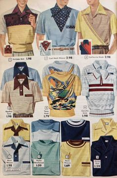 Men's Shirt Styles – Dress Shirts to Casual Pullovers Men's Knit Sport Shirts the knit shirt took on all sorts of stripes, weaves, plaid and contrasting colors. Fashion In, Fashion History, Retro Fashion, Trendy Fashion, Fashion Dresses, Vintage Fashion, Mens Fashion, Club Fashion, Vintage Outfits