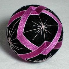 Black, pink and silver Temari ball-Friendship Chain