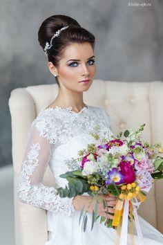 long sleeves wedding dress and topknot wedding updos