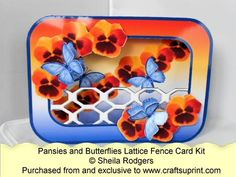 Lattice Fence Card - Pansies and Butterflies