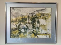 "Titled ""Coastal Autumn"" Reproduction Print of Water Colour by William Thon - Framed - x"