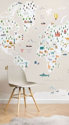 The Cream Ultimate Kids Map Wall Mural is a fun and charming mural for your little one's bedroom or nursery and is educa Childrens Bedroom Wallpaper, Bedroom Murals, Boys Wallpaper, Wallpaper Murals, Children Wallpaper, Boy Toddler Bedroom, Boy Room, Kids Bedroom, Kid Spaces