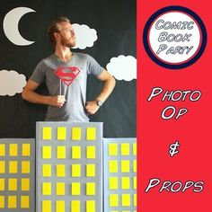 Creativity goes a long way. Design this backdrop fit for photo ops! #birthdayparty #diy #comicbook #superhero