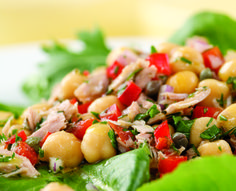 Mediterranean Tuna Antipasto Salad for Two. Capers, red onion and fresh herbs give canned tuna and beans a light, fresh taste.