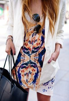 printed dress and white blazer