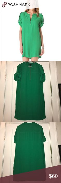 """BCBG Frank Dress BCBG Frank dress in kelly green! Perfect lightweight summer dress. Front zip. Rolled sleeves with tab at shoulder. 35"""" from shoulder to hem. BCBGMaxAzria Dresses"""