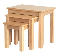 Traditionalists will love the classically styled, clean lined shaping of these smooth oak nesting tables. They're ideal for serving nibbles to guests, whilst th