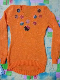 Saco en lana naranja con apliquez  en tela