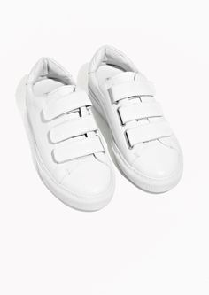 & Other Stories image 2 of Scratch Strap Leather Sneaker in White