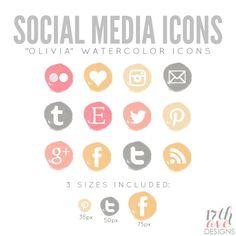 "Watercolor Social Media Icons for Blog & Web - ""Olivia"" INSTANT DOWNLOAD. $6.00, via Etsy."