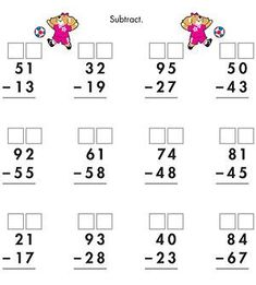 Printable Math and Measurements Worksheets: Two-Digit Subtraction With Regrouping (via Parents.com)