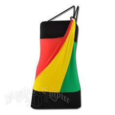 Rasta and Reggae Mini Over One Shoulder Strap Dress #rasta #reggae