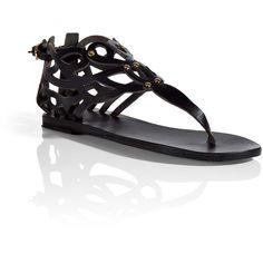 ANCIENT GREEK SANDALS Black Medea Flat Sandals ($150) ❤ liked on Polyvore