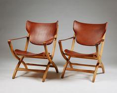 "Pair of folding armchair ""Egyptian Chair"" designed by Poul Hundevad, — Modernity"