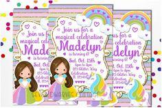Sweet little Girl and Unicorn Birthday Celebration Printable Invitation #unicornbirthday #unicornlove #unicornparty #kidsbirthdayideas