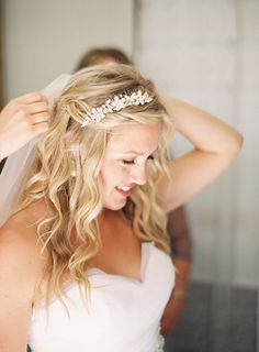something like this with the hair...part up, some type of sparkly headband?