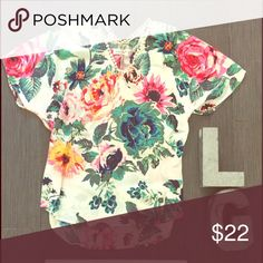 Floral blouse Cream v neck blouse with flowers Tops Tees - Short Sleeve