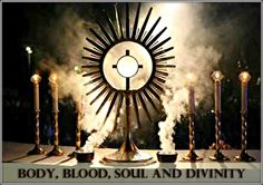 "'Body, Blood, Soul and Divinity': The Miracle and Gift of the Most Holy Eucharist (called transubstantiation). The Eucharist is called Holy Communion. Jesus himself, through the Eucharist, grants to us the most powerful experience of intimacy possible within our earthly existence. As Pope Benedict explained, ""And that is what is really happening in Communion, that we allow ourselves to be drawn into him, into his inner communion, and are thus led finally into a state of inner resemblance""."