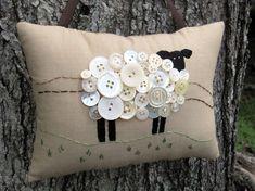 Primitive Ireland Sheep Embroidery Pillow - Original Design. $24.00, via Etsy.