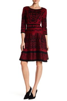 French Print Flare Sweater Dress