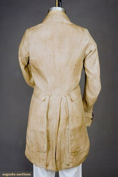 Tail coat, unlined natural linen (American, c. 1800 - 1830)