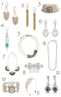 Get the Great Gatsby look with these inspired wedding accessories - shoes, jewellery and evening bags and clutches Great Gatsby Outfits, Great Gatsby Party, Great Gatsby Fashion, Great Gatsby Accessories, Bridal Accessories, Jewelry Party, Bridal Jewelry, Gatsby Wedding Dress, Wedding Dresses