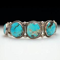 Vintage Native American Style Turquoise Bangle Bracelet