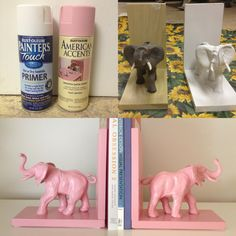 Using this concept for several older items in Miss M's room that need to be better incorporated: DIY pink elephant bookends