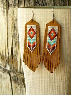 Southwestern Jewelry Handmade Beaded Leather Earrings - Desert Canyon (by EarthArtistry, via Etsy)