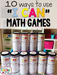 """partido = game """"I Can Math Games are more than just a can! Learn how I put together, organize and use these math games for all grades! Math centers are now fun and engaging with these math games. Tons of ways to use these! ( is a lifesaver! Math For Kids, Fun Math, Math Games, Math Activities, Grammar Games, Math 8, Math Literacy, Math Teacher, Math Classroom"""