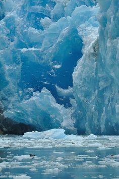 Amazing blue ice of the Sawyer Glacier, Tracy Arm near Juneau, Alaska