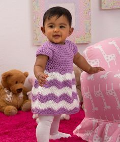 Chevron Chic Baby Dress Free Crochet Pattern from Red Heart Yarns